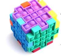Anti estrés Puzzle Pop It Fidget Toy Push Bubble Sensory Silicone Kids Rubik's Cube Squeezy Squeeze Desk Toys