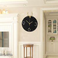 Wall Clocks Vintage Metal Silent Clock Cooper Antlers Modern Design Home Decorative Watch Living Room Decoration