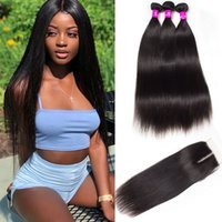 Alinybeauty Wholesale Raw Cuticle Aligned Hair 100 Virgin Remy Human Hair Mink Brazilian Hair Straight 3 Bundles With Lace Frontal Closure