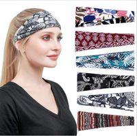European and American hair band printed headdress sports Yoga headband sweat absorbing wide edge scarf Bandanas EWA6906
