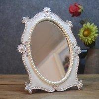 Cornici Silver Western Western Comb Trucco Principessa Specchio Tavolo Specchio Decorativo Perle Oval Creative Regalo personalizzato