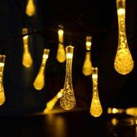 Solar Outdoor String Lights Water Drop Powered Powered Garland Light Garden Christmas Fairy Strips