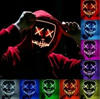 Party Favor Halloween Led Mask Masque Masquerade Neon Light Glow In The Dark Mascara Horror Glowing Masks Costume Supplies