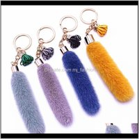 Rings Jewelry Drop Delivery 2021 Leather Tassels Keychain Fur Chain Keyring For Women Girls Handbag Pendant Key Decoration Lhpgt
