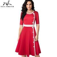 Повседневные платья приятные навсегда ретро элегантный контрастный цвет пэчворк с кнопкой деловая вечеринка осень женское вещественное платье A228