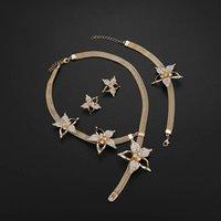 Jóias conjunto de brincos de colar de colar de starfish bracelet três pedaço conjunto 383 Q2