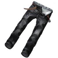 Ünlü Ballein Marka Moda Tasarımcısı Kot Erkekler Düz Koyu Mavi Renk Baskılı Erkek Kot Pantolon Kot Pantolon,% 100 Pamuk 20781