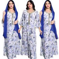 Ethnic Clothing Spring Autumn Muslim Printed Maxi Robe Islamic Hijab Dress Ribbon Arabic Abaya Women Middle East Moroccan Jalabiya Gown