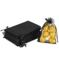 Gift Wrap 100PCS 4X6 Inch (10X15 Cm) Transparent Drawstring Bag, Black Organza Wedding Party Christmas Holiday Bag