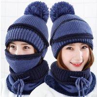 Inverno DAS Mulheres Malha Cap Cap Quente Bib Mascara One-Piece A Prova de Vento Frio Cachecol Beanie / черепные колпачки