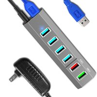 Topesel 6 Limanlar Süper Yüksek Hızlı USB 3.0 Hub Splitter + 24 W Güç Adaptörü 3.0 Kablo, Gri Akıllı Hızlı Şarj 210615