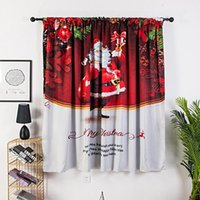 Curtain & Drapes Xmas Window Curtains Santa Claus With Gift Painting Polyester Christmas Hanging Decoration Living Room Bedroom Blackout