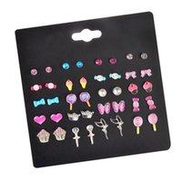 Stud Wholesale Lovely Mix Candy Animal Small Earrings Fruit Earring Set For Teen Girls Baby Kids Cute Gift Pretty Earings