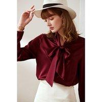 Women's Blouses & Shirts Women Pure Silk Satin Long-sleeve Blouse Autumn 100% Mulberry Loose Top Shirt M L XL