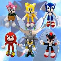 DHL 30cm Chegada Sonic Pelúcia Brinquedo The Hedgehog Caudas Knuckles Echidna Boneca Chave Animais Brinquedos Presente de Natal
