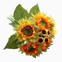 Artificial Flower Sunflower Bunch Of Fake Wedding Decoration Home Decor Small Bouquet Gift For March 8th Decorative Flowers & Wreaths