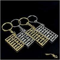 Gadgets al aire libre llaveros 6 8 Archivos Metal Oro Sier ABACUS Llavero Cadena Cadena Colgante Accesorios de Moda Zza885 4AFSI 42MLZ