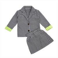 Moda crianças meninas roupas roupas crianças crianças xadrez manga comprida botão blazer casaco saias roupas 1 6y