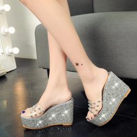 Dress Shoes Women Sandals Rivets Transparent Peep Toe High Heels Fashion Ladies Glitter Platform Wedges Summer Slides