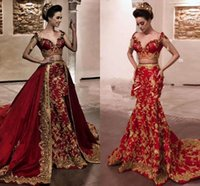 Dubai Arabic Luxury Mermaid Formal Evening Dresses 2022 Celebrity Party Occasion Wear Red And Gold Lace Appliques Beaded Prom Dress Women Bride Reception Gowns