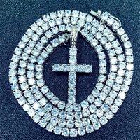 Iged خارج الزركون الصليب قلادة مع سلسلة التنس 4 ملليمتر قلادة مجموعة الرجال الهيب هوب مجوهرات الذهب والفضة تشيكوسلوفاكيا قلادة قلادة 891 Q2