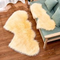 Imitation Wool Carpet Plush Living Room Bedroom Double Heart Shaped Fur Rug Washable Seat Pad Fluffy Rugs 35*70cm 60*120cm 90*180cm DOZU EA1S