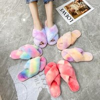 Women Designers Clothes 2021 Woolen slippers autumn and winter fashion colorful cross toe cotton large size home