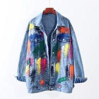 Women's Jackets Streetwear Fashion Multicolor Graffiti Denim Jacket Women Outwear Autumn Loose Mid Long Jeans Coat Female Chaquetas Mujer