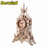 47Pcs Set DIY Wooden Clock Puzzle Model Kit Laser Cutting 3D Belfry Table Clock Wooden Model Building Kits Toys - Oak Color R0410