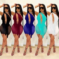 Summer Women Sexy Casual Dresses Sleeveless Hollow Out Tight Open Back Bandage High Elastic Party NightClub Wear Mesh Dress Plus Size S-4XL