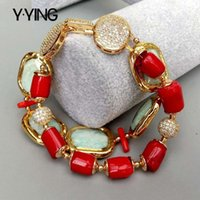 Designer original natural green red coral rectangular chain bracelet 8.5 inches
