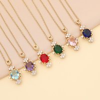 Chains Fashion Colorful Crystal Pendant Necklace For Women Girls Trendy Charm Rhinestone Short Collar Jewelry Party Gift Accessories