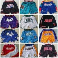 Pantalones cortos de baloncesto del equipo de los hombres solo Don Short Sport Wear Pantalón con cremallera de bolsillo Sweetpants Hip pop azul blanco negro rojo púrpura cosido de buena calidad S-XXXL