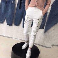 2020 Spring Summer Korea Fashion Women Elastic Waist White Jeans Button Design Loose Casual Denim Harem Pants Plus Size S981 H0908
