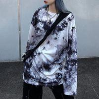 HARAJUKU DONNA T SHIRT Creativa Tie Dye Casual O-Neck Manica Lunga Allentato Femminile Top TEE Streetwear Autunno Shirt da donna T-shirt da donna