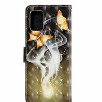 Casos de telefone com pacote de cartão para iphone 12 11 pro promax x xs max 7 8 mais samsung s10 s20 note10 nota20 borboleta dourada