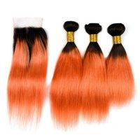 레이스 클로저와 함께 오렌지 스트레이트 머리 두 톤 1b 페루 버진 인간의 머리카락 폐쇄 4pcs / lot hhcmq와 어두운 뿌리 직선 머리를 짜다