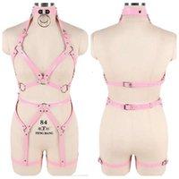 2021vSexy Underwear 2 Piece Leather Harness Set Pink Garter Belts Women Straps Bra Top Belts Waist Leg Body Bondage Club Pole Dance