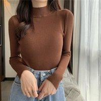 Chaiyao tricoté cavalier automne hiver tops pull-ovins décontracté à manches longues à manches longues femmes chemise courte serré femmes