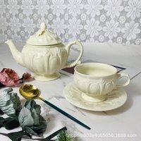 Mugs Ceramic Coffee Cup And Saucer Tea Set European Retro Cream Color Three-dimensional Relief Milk Jug Sugar Bowl Mug