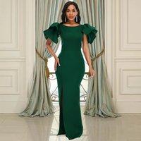 Dark Green Mermaid Prom Dresses For Women Side Split Long Satin Formal Evening Gowns Short Sleeve Simple Celebrity Party Dress