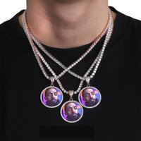 Lüks Tasarımcı 18 K Custom Made Fotoğraf Yuvarlak Madalyonlar Kolye Kolye ile 3mm 24 inç Halat Zincir Gümüş Altın Renk Zirkon Erkekler Hiphop Takı