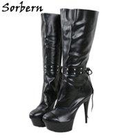 Sorbern 15Cm High Heel Boots Women Knee Lace Up Ankle Straps Platform Pole Dance Stripper Heels Custom Wide Fit Boot Ladies