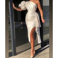 Elegant African Prom Dresses One shoulder Short Evening Gowns Tea Length Sexy Formal Party Cocktail Wear