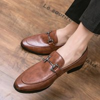 New Men Business Dress Shoes PU Leather Casual One Foot Pedal Comfortablel Round Head Soft Metal Buckle Decoration DH212
