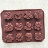 1 Pz 12 Style Gufo Silicone Cake Biscotto Cioccolato Candy Muffin Sapone Stampo per la cottura del vassoio Cute Gufo Stampo DSF0403