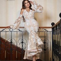 Saudi Arabia Mermaid Evening Dresses Lace 2022 Off Shoulder Long Sleeves Plus Size Middle East Sexy Formal Prom Party Gowns