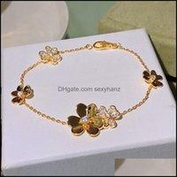 Bangle Bracelets Jewelry Sell 925 Sterling Brand For Women Sier Chain Bracelet Praty Wedding Jewelry Gold Color Flower Clover Drop Delivery