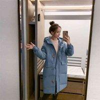 Длинные мягкие пальто с капюшоном Bookwork Horn Button Big Pocket Pocket MSFILIA Толстые повседневные зимние женщины сладостный сплошной цвет Parker 210419