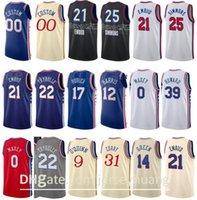 Baloncesto impreso Joel Embiid Jersey 21 Ben Simmons 25 Tobias Harris 12 Seth Curry 31 Shake Milton 18 Mike Scott City Ganed Edition